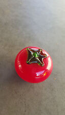 Cased Glass Fruit, Red Tomato , with green stem