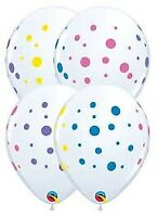 """11"""" PRINT COLORFUL DOTS PACK OF 50 QUALATEX BALLOONS PARTY SUPPLIES"""