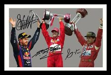 SEBASTIAN VETTEL & MICHAEL SCHUMACHER & AYRTON SENNA SIGNED & FRAMED PP  PHOTO