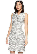 Calvin Klein Gray Stripe Cross-Over Neckline Knit Dress NWT-$109  Size 10