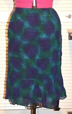 Chico's Design Skirt Size 1 Blue Green Black NWT