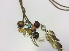 BEAUTIFUL USED SUEDE THONG NECKLACE BOHO METAL FEATHER BEADED STYLISH JEWELLERY