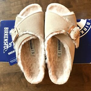 New Birkenstock Arosa Shearling Fur Sandals Shoes 37 6 6.5 Narrow Nude Arizona
