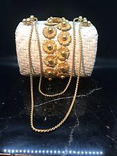 Vintage 50s60s Rodo White Wicker and Goldtone Metal Daises Handbag Rare
