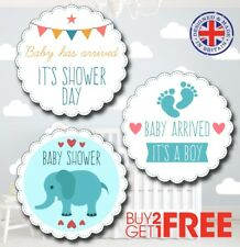 BBM1 30x 35mm Baby Shower Birth Boy Christening Stickers/Labels/Gift Tags/Cards