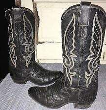 Vntg NOCONA 6.5B black exotic lizard leather western cowboy boots, USA Made