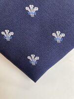 Charles Tyrwhitt 100% Silk tie Navy Blue with Silver Fleur de lys pattern