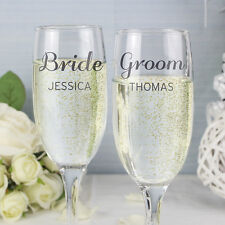 Personalised Classic champagne Flute Set - Bride and Groom, Mr & Mrs, His Hers