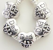 5 DAD Heart Charm Spacers Fits European Jewelry 10 x 10 mm & 5 mm hole S016
