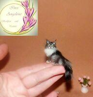 OOAK 1:12 Handsculpted cat realistic miniature handmade dollhouse IGMA sculpture