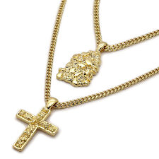 "Men's 14k Gold Plated High Fashion 2 pc Nugget & Cross 3mm 27"" & 24"" Cuban Chain"
