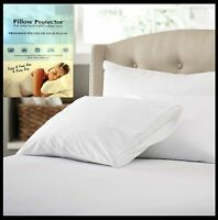 Anti-Allergy 100% Cotton Zipped Pillow Protector Pair Fully Encased 74x48 cm