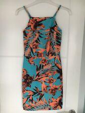 Miss Selfridge Petite Floral Blue And Orange Bodycon 90s Style Mini Dress 6 BNWT