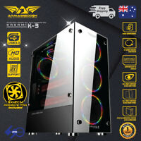 PC Computer Case ATX Tower Tempered Glass with 3x 120mm Rainbow Fan without PSU