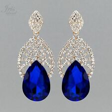 18K Gold Plated Blue Crystal Rhinestone Chandelier Drop Dangle Earrings 5863 New