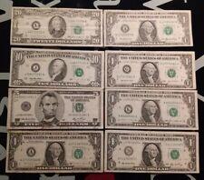 U.S.A. PAPERMONEY  20 DOLLARS 1985 10 DOLLARS 1995 5 DOLLARS 2006 1 X 5 $