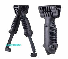 Tactical Vertical Fore Hand Grip Bipod Picatinny Rail Rifle Weaver Adjustable #5