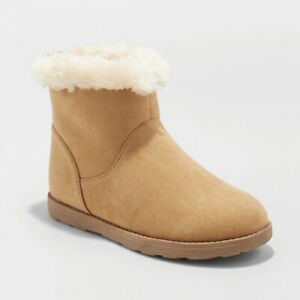 New Cat & Jack Haiden Shearling Boots Light Brown Big Girls Shoe Size 4