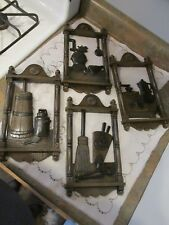 Vtg Dart Ind Homco #7290 Set Of 4 Colonial Kitchen Wall Accents Decor Brown