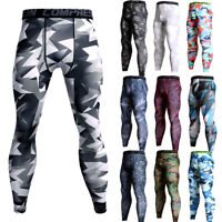 Men's Compression Long Pants Workout Running Fitness Tight fit Camo Print Tights