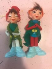 2 Vintage Delta Felt Elves Elf 1968 Big Shoes Eyes Christmas Ornaments Japan
