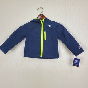 Champion Boy Toddler Sz 3T Full Zip Hooded Jacket Fleece Lining Navy & Yellow
