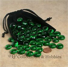 NEW 50 Green Glass Gaming Stones & Bag RPG Game D&D Hit Point Markers Counters