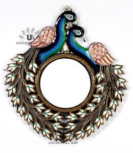 "Ethnic Designer Peacock Wall Unique Wooden 22"" Frame with8"" Mirror Vintage MI06"