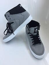 Supra Vaider S28307 Canvas Skateboard Shoes Grey/Black White Sole Men's Size 9