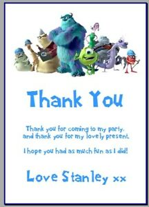 personalised photo paper card party birthday thank you notes MONSTERS INC DISNEY
