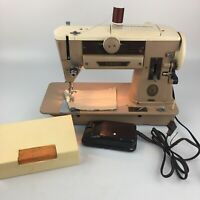 Vintage Singer 401A SLANT-O-MATIC SEWING MACHINE with Foot Pedal & Extras