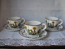 Villeroy & Boch Botanica 3 Kaffee / Tee Tassen + Unterteller, alter Stempel