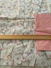 """2 pieces cotton fabric  Eiffel Tower 29"""" x 44"""", Tiny pink floral 25"""" x 44"""""""