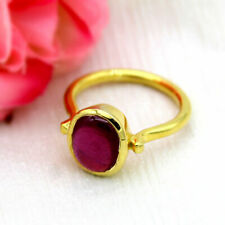 22k 22ct Yellow Gold Ruby Red Oval Crystal Single Stone Ring for Men and Women