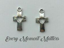 10 X Tibetan Silver Cross With Cut out Heart Charms Pendants Beads