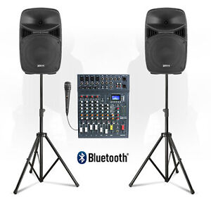 """VPS 10"""" Stage PA Speaker Sound System with Studiomaster CLUB XS8 Mixer & Stands"""