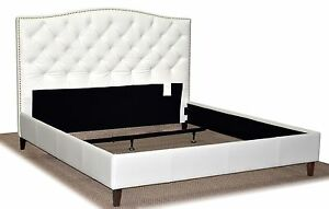 King Size White Genuine Leather, Diamond Tufted Bed with Pewter Nail Head Trim