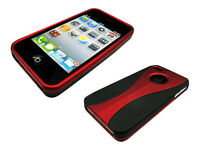 New Stylish Grip Series Dual Black Red Hard Cover Case For Apple iPhone 4 4S 4G