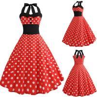 Women Sleeveless Evening Swing Retro Summer Dresses vintage Polka Dot