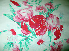 "Vintage 40's-50's Textured Cotton Print Tablecloth w/Pink Red Flowers.52"" x 50"""