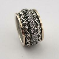 Vintage Women 925 Silver Filled Carving White Sapphire Ring Wedding Jewelry#6-12
