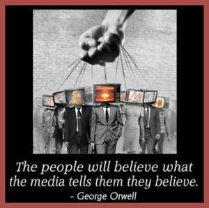 George Orwell Anti TV Media Believe Brainwashing Control Unisex Tshirt T-Shirt