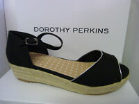 NEW WOMENS LADIES DOROTHY PERKINS WEDGE BLACK CANVAS SANDALS SHOES