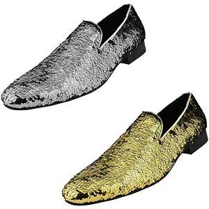 Mens Slip On Shoe - Smoking Slippers - Designer Shoes - Sequin Reversible Loafer