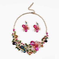 Fashion Flower Necklace Stud Earrings Set Rhinestone Bride Wedding Jewelry Sets