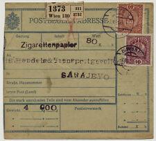 ÖSTERREICH 1916 POSTBEGLEITADRESSE, WIEN nach SARAJEVO (Bosnien)
