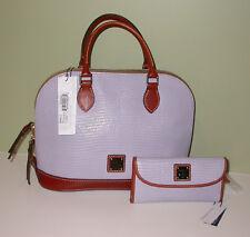 Dooney & Bourke Embossed Leather Zip Zip Satchel/Matching Wallet Set Lilac NWT