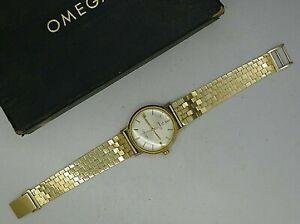 """OMEGA SEAMASTER DEVILLE VINTAGE 1968 14K GOLD """"SOLID"""" REF LL6590 ORGNL BOX PAPER"""