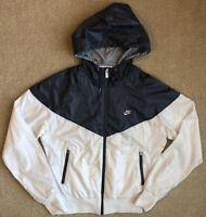 NIKE SPORTSWEAR size M Women's THE WINDRUNNER Windbreaker White Gray Jacket Hood