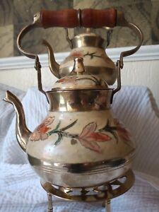 2 X Vintage Cloisonne Brass Teapot